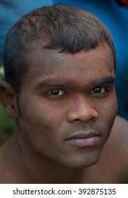 YAVATMAL, MAHARASHTRA, INDIA - NOVEMBER 25:portrait of unidentified wrestler at Yavatmal Fair, wrestling  traditional local sport, Yavatmal, Maharashtra, India.25 November 2012