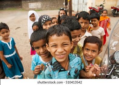 YAVATMAL, MAHARASHTRA,INDIA - 18 AUGUST 2011 : Unidentified school children of urdu medium rural school at their school ground., 18 August 2011,Yavatmal,Maharashtra,India.