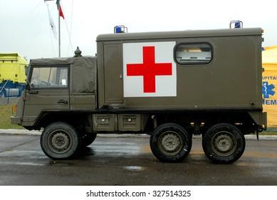 Yavorov, Ukraine -  October 13, 2005. A military ambulance Steyr-Daimler-Puch Pinzgauer-718AMB