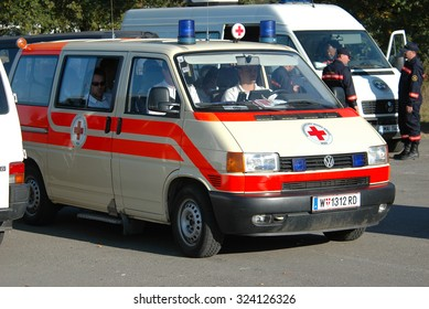 Yavorov, Ukraine - October 9, 2005. The ambulance Austrian Red Cross on the teachings of the Ministry of Emergency Situations of Ukraine.