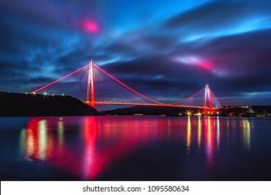 Yavuz Sultan Selim Bridge in Istanbul, Turkey in evening illumination. 3rd Bosphorus Bridge night view from Poyraz