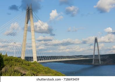 Yavuz Sultan Selim Bridge in Istanbul, Turkey. 3rd Bosphorus Bridge and Northern Marmara Motorway.