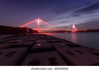 Yavuz Sultan Selim Bridge on sunset in Istanbul, Turkey