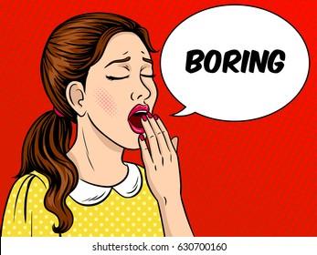 Yawning bored girl pop art retro raster illustration. Comic book style imitation.