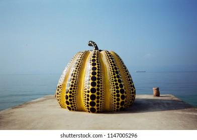Yayoi Kusama's pumpkin in Naoshima, Japan.