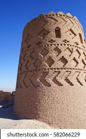 Yazd, Iran - December 11th 2016: Narin fortress is a mud-brick fort or castle