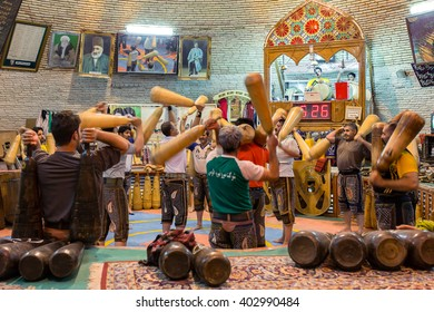 Yazd, Iran - December 17, 2015: Pahlevani and zoorkhaneh rituals.Traditional Iranian system of athletics originally used to train warriors