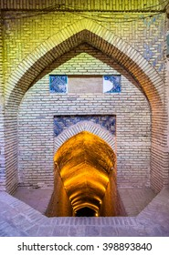 Yazd, Iran - January 5, 2016: Entrance to the basement of the Jameh Mosque. The mosque is depicted on the obverse of the Iranian 200 rials banknote