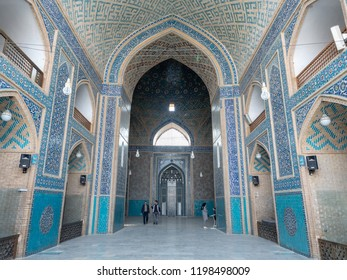 Yazd, Iran - March 7, 2017 : Tourists visiting Jameh mosque decorated interior