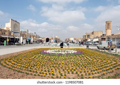 Yazd, Iran - March 7, 2017 : View of Amir Chakhmaq square, a popular tourist destination in Yazd