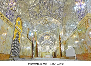 YAZD, IRAN - NOVEMBER 18, 2018 - A corridor in one of the Imam Zadeh Jafar shrine, with an example of intricate mirror works