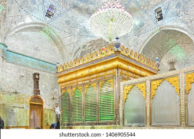 YAZD, IRAN - NOVEMBER 18, 2018 - Sanctuary inside the Imam Zadeh Jafar shrine, with an example of intricate mirror works