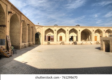 YAZD, IRAN -?? NOVEMBER 2017: The ancient caravanserai in the centre of the historical town Meybod near Yazd in Iran