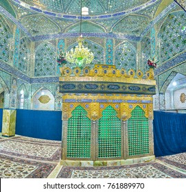 YAZD, IRAN - OCTOBER 17, 2017: Holy Shrines of Iran boasts beautiful interior decorated with small pieces of glass, on October 17 in Yazd