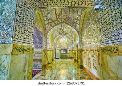 YAZD, IRAN - OCTOBER 18, 2017: Almost all the halls and corridors of Imam Zadeh Jafar Shrine are decorated with stunning mirrorwork, on October 18 in Yazd.