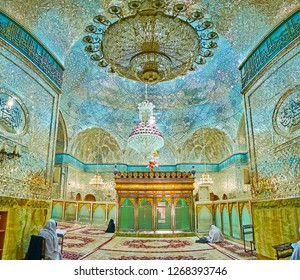 YAZD, IRAN - OCTOBER 18, 2017: Interior of women's prayer hall of Imam Zadeh Jafar Shrine, decorated with fine Islamic patterns of mirror pieces, on October 18 in Yazd.