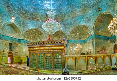 YAZD, IRAN - OCTOBER 18, 2017: Panorama of Imam Zadeh Jafar Mausoleum with dazzling walls and dome, covered with intricate mirrorwork, on October 18 in Yazd.