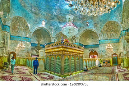 YAZD, IRAN - OCTOBER 18, 2017: The male and female prayer halls of Imam Zadeh Jafar Mausoleum are separated with opaque screen, on October 18 in Yazd.