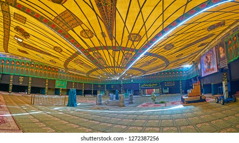 YAZD, IRAN - OCTOBER 18, 2017: Panorama of the prayer hall in tent, located in Imam Zadeh Jafar Shrine complex and decorated to Ashura Festival, on October 18 in Yazd.