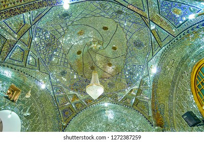 YAZD, IRAN - OCTOBER 18, 2017: The intricate Islamic patterns of mirror pieces cover the dome of Imam Zadeh Jafar Shrine, on October 18 in Yazd.