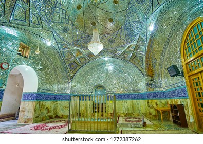 YAZD, IRAN - OCTOBER 18, 2017: One of the numerous prayer halls of Imam Zadeh Jafar Shrine, famous for its rich mirror decorations, on October 18 in Yazd.