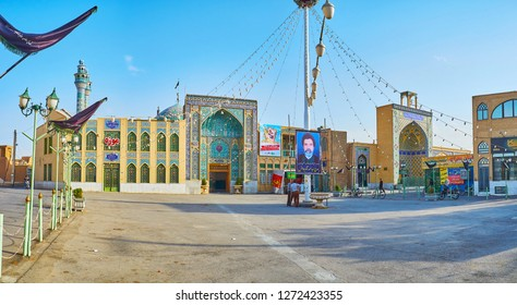 YAZD, IRAN - OCTOBER 18, 2017: The large square in front of Imam Zadeh Jafar Shrine with a view on its scenc exterior and Ashura flags, on October 18 in Yazd.