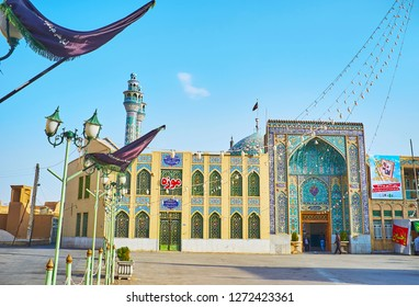 YAZD, IRAN - OCTOBER 18, 2017: The square of Imam Zadeh Jafar Shrine in front of the modern Islamic complex, on October 18 in Yazd.