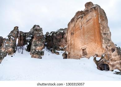 Yazilikaya, Midas City, Phrygia with snow in Eskisehir - Anatolia, Turkey.