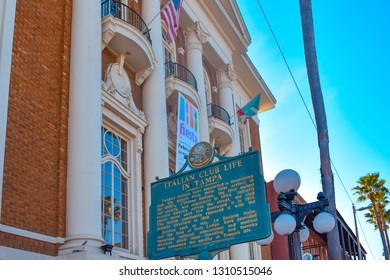 Ybor City (Tampa Bay), Florida. January 08, 2019  Italian Club Life in Tampa Sign on vintage building background in 7th Ave.