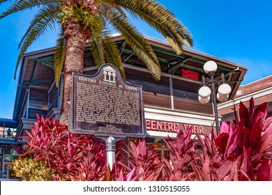 Ybor City Tampa Bay, Florida. January 19 , 2019  Centro Espanol sign and colorful plants in 7th Ave.