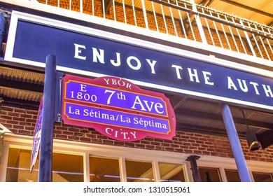 Ybor City Tampa Bay, Florida. January 19 , 2019   E 1800 7th Ave (La Septima) sign on vintage building background.