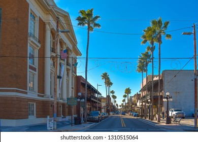 Ybor City (Tampa Bay), Florida. January 08, 2019 Panoramic view of Old Italian Club Life and 7th Ave.