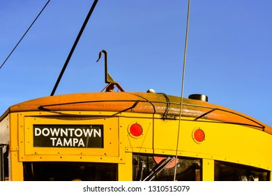 Ybor City Tampa Bay, Florida. January 19 , 2019  Top view of yellow streetcar in 8th ave.