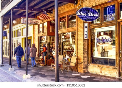Ybor City Tampa Bay, Florida. January 19 , 2019  Vintage cigars store in 7th ave.