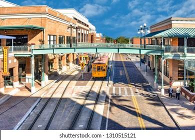 Ybor City Tampa Bay, Florida. January 19 , 2019  Panoramic view of Centro Ybor Complex and streetcar.