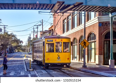Ybor City Tampa Bay, Florida. January 19 , 2019  Centro Ybor Complex and colorful streetcar.  Ybor City  is a historic neighborhood in Tampa.  (3)