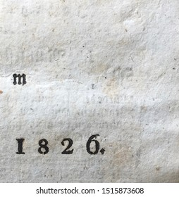 The year 1826 as printed on the title page of a journal published that year. Some text from the other side is showing through