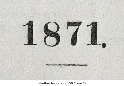 The year 1871 as printed on the title page of a yearbook published that year