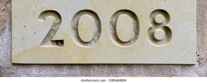 The year 2008 carved in stone in order to mark the date of a renovation