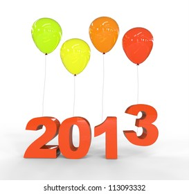 Year 2013 with balloons