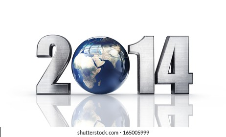 """Year 2014 made up of numbers and Earth as zero. isolated on white background High resolution 3d render  """"Elements of this image furnished by NASA"""""""