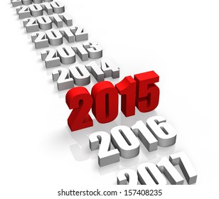Year 2015 and other years behind and front