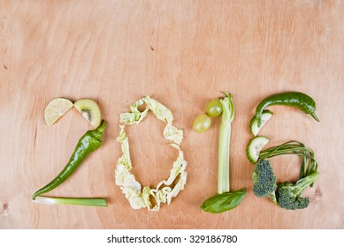 Year 2016 shape made of healthy food green vegetables, concept