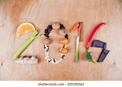 Year 2016 shape made of healthy food fruit and vegetables, concept