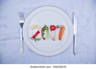 Year 2017 on plate made of fresh fruit, vegetables and seeds. Healthy food concept.