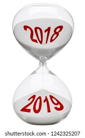 the year 2018 will end in the hourglass to the year 2019