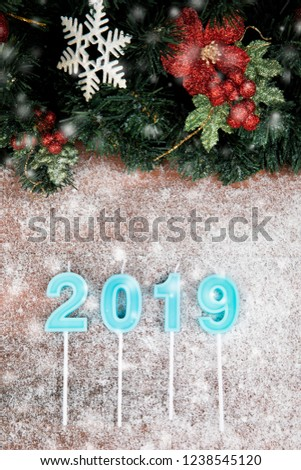 year 2019 in blue color on wooden board and blurry showflake border design with pine