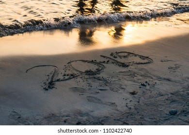 Year 2019 written on sand at sunset