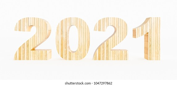 Year 2021 made with wood on a white background. 3d Rendering.