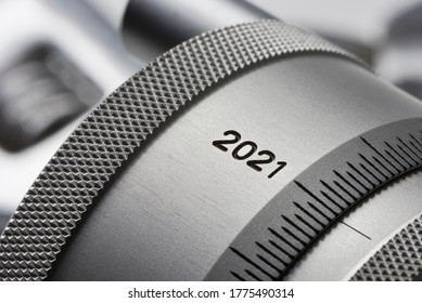 Year 2021 - The year 2021 on an adjusting wheel of a precision machine measuring device in industrial use
